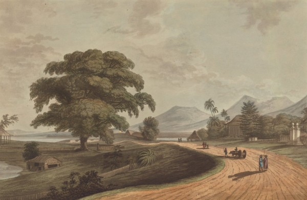 Joseph Constantine Stadler, active 1780–1812, British, Fort Marlborough from Old Bencoolen, Sumatra, 1799, 1799, Aquatint, Yale Center for British Art, Paul Mellon Collection
