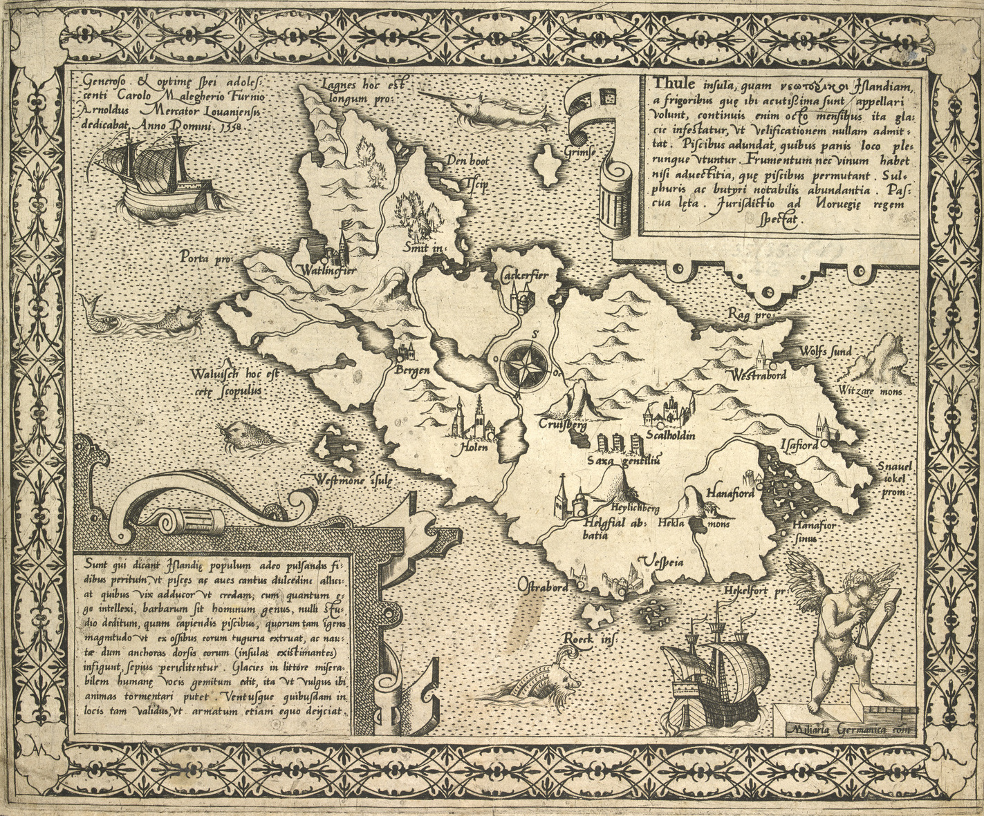 Lines in the Ice - A map of the Island of Thule, by Arnold Mercator, 1558.