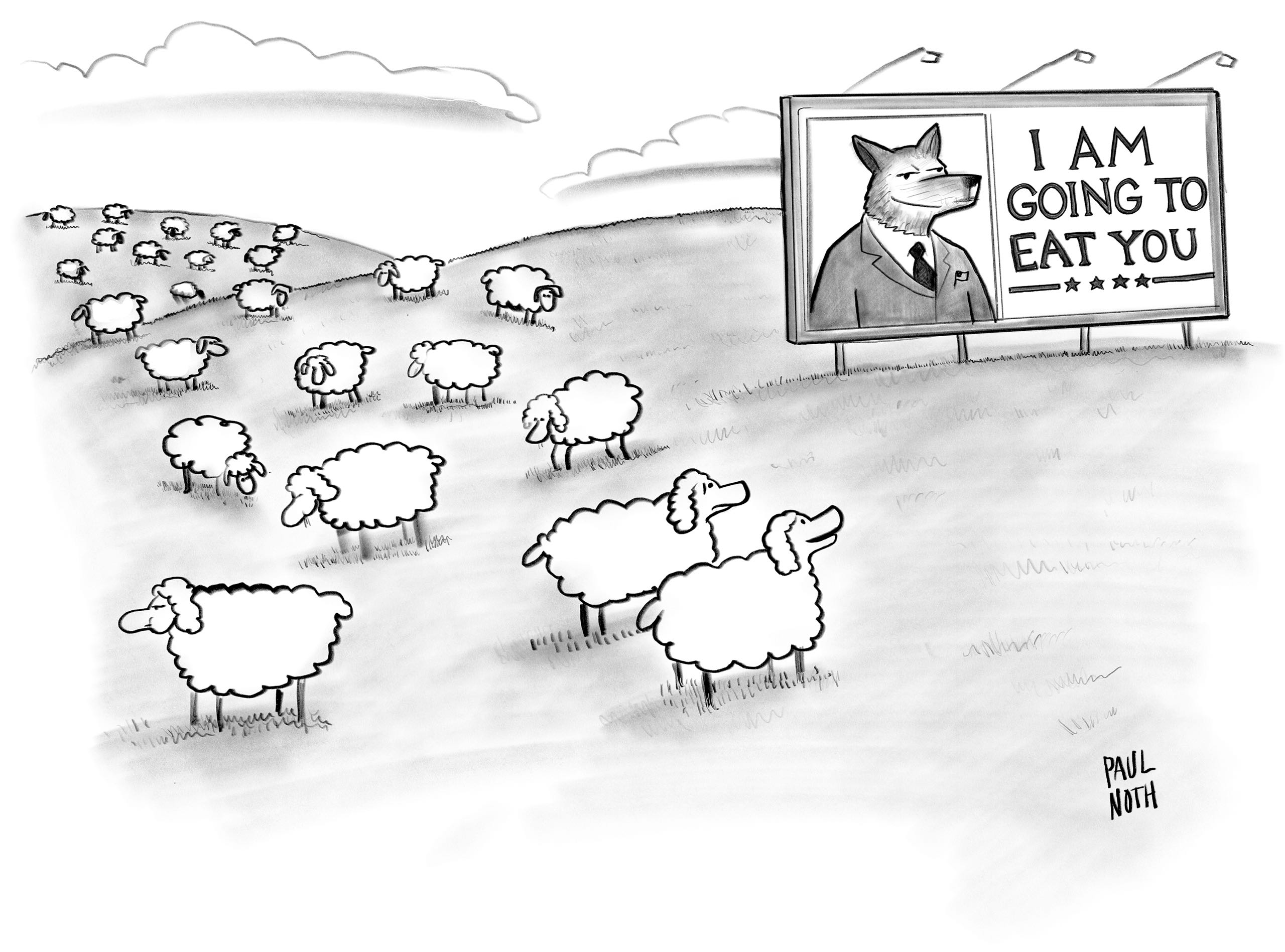 Paul Noth, New Yorker Donald Trump cartoon, Wolf Crossing