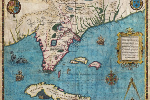 The Way of Florida. Spain - Apalchen - Le Moyne Map, 1591