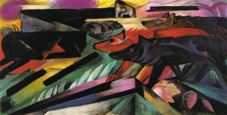 Franz Marc, The Wolves (Balkan War), 1913. Wolf Crossing